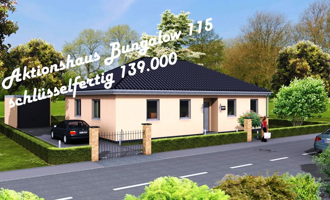 Aktionshaus Bungalow 115 Ansicht Strasse links 670