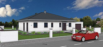 Bungalow 126 Garage 3D Ansicht Strasse links small