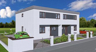 Doppelhaus 226 3D Ansicht Strasse links small