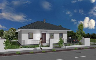 Bungalow Minni 3D Ansicht Strasse links small